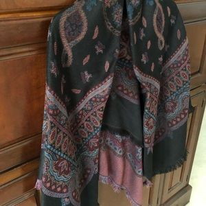 Field Manor Black, Blue Red Paisley pattern scarf